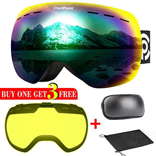 - Ski Goggles - 2 Lenses Included, Frameless Magnetic Snowboard Goggles - 2 Seconds Quick Interchangeable Spherical Lenses Suitable for All Weather Conditions, OTG Imported Double-Layer Anti-fog Lenses