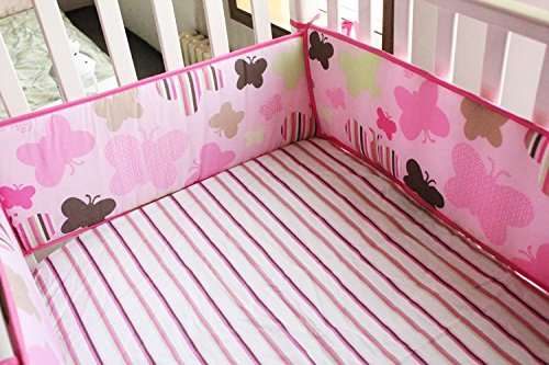 NAUGHTYBOSS Girl Baby Bedding Set Cotton 3D Embroidery Butterfly Quilt Bumper Mattress Cover 7 Pieces Set Pink Color by NAUGHTYBOSS (Image #5)