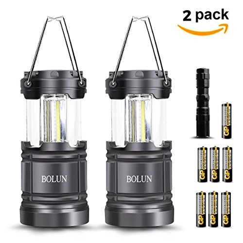 Camping Lantern 2 Pack Portable Outdoor COB LED Hand Held Flashlights Collapsible Gear Equipment for Hiking Hunting Fishing Emergencies Outages