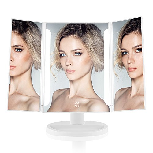 Easehold Lighted Vanity Makeup Mirror Tri-Fold with LED Light Bars 180 Degree Free Rotation Table Countertop Cosmetic Bathroom Mirror(White)