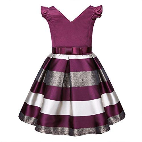 iiniim Baby Girls Kids Flutter Sleeve Princess Dress Wedding Bridesmaid Party Flower Girl Dress Burgundy 5-6 (Striped Flutter Sleeve Dress)