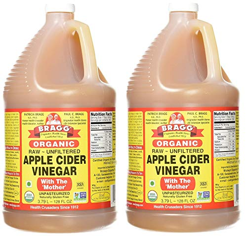 Bragg, Organic Apple Cider Vinegar, Raw, Unfiltered, with The Mother, 1 Gallon (Pack of 2)