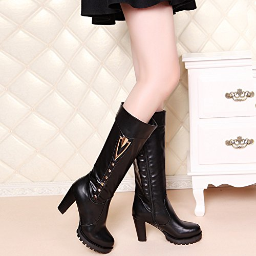 KHSKX-Rough Heel Martin Boots Autumn And Winter New Style Rivet Barrel Thick With Martin Boots Short Boots Side Zipper High Heels Large Shoes Thirty-eight roG9UP2