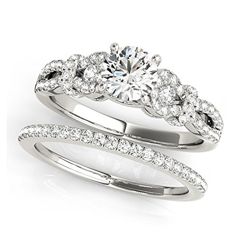 14K White Gold Unique Wedding Diamond Bridal Set Style MT50996