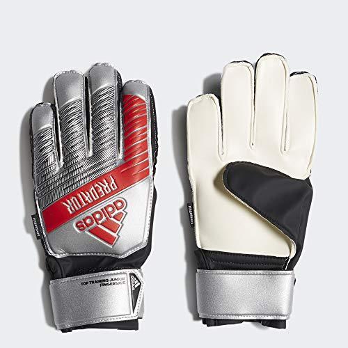 adidas Juniors Predator Top Training Finger Save Soccer Goalkeeper Gloves , Silver Metallic/Black  , 5 (Predator Keeper Gloves)