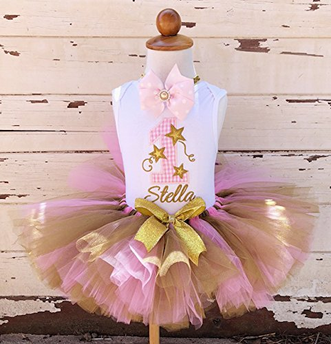 069af2f54 Image Unavailable. Image not available for. Color: Twinkle Twinkle Little  Star 1st Birthday Tutu Outfit- Pink and Gold