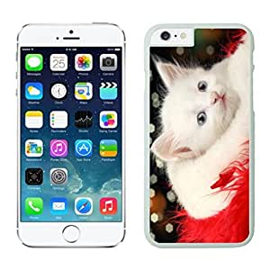 Custom Lovely White Christmas Cat Red Fur White Phone Case For Iphone 6 4.7 Inch