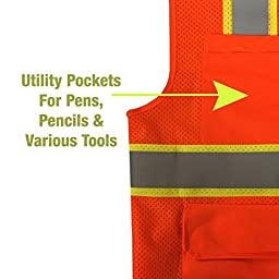 KwikSafety Ultra Cool Mesh Safety Vest | Reflective High Shine Hi Viz Caution Hazard | Landscaping Construction Emergency Demolition Surveyor | Class 2 ANSI for Men and Women | Orange L/XL