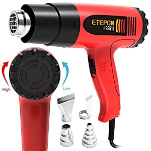 ETEPON Heat Gun Kit Temperature Adjustable Hot Air Gun 1800w 120°F-1020°F with 4 Heat Gun Nozzles for DIY Craft, Bending Pipes,Vinyl Shrink Wrap, Paint Remove (HG6618)