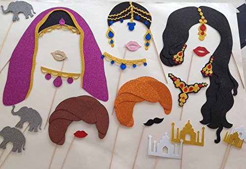 [14 Indian Photo Booth Party Props Bollywood Indian] (Bollywood Party Decorations)