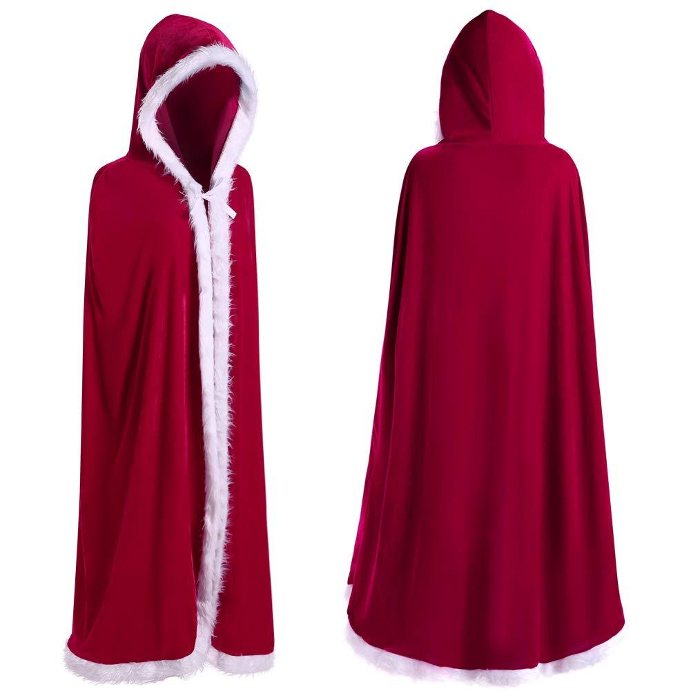 JUDYBRIDAL Womens Christmas Cloak Cape Velvet Mrs Santa Hooded Shawl Costume