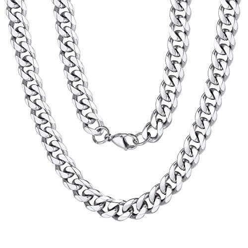 (9mm Miami Mens Chain Boys Curb Cuban Link Stainless Steel Necklace Men's Silver)