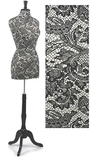 - French Lace Jersey Dress Form with Wood Stand & Neck Finial