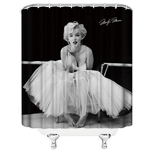 Marilyn Monroe Shower Curtain Star Actor Model Creative Personality Black and White Sexy Sitting 70 x 70 Inch Home Waterproof Bathroom Accessories Hanging Curtains ()