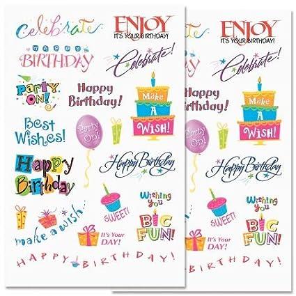 Amazon.com: Cumpleaños palabras pegatinas – 72 pegatinas en ...