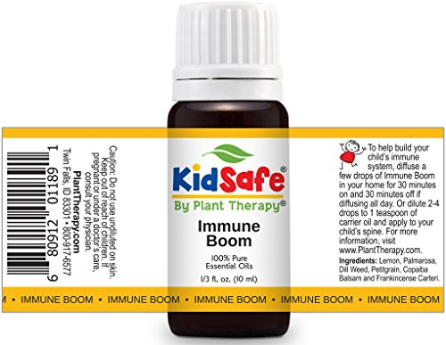 Plant Therapy KidSafe Wellness Sampler Set. 100% Pure, Undiluted, Therapeutic Grade. Includes: Germ Destroyer, Immune Boom and Sniffle Stopper. 10 ml (1/3 oz) each.