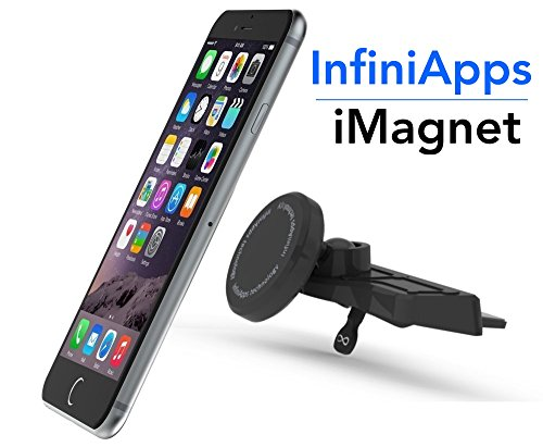 [Maker of iMagnet]Car Mount, Magnetic Mount-InfiniApps The Original Patented Slyde CD Slot Mount, Car phone mount for Smartphones (Holder High Mount Tape)