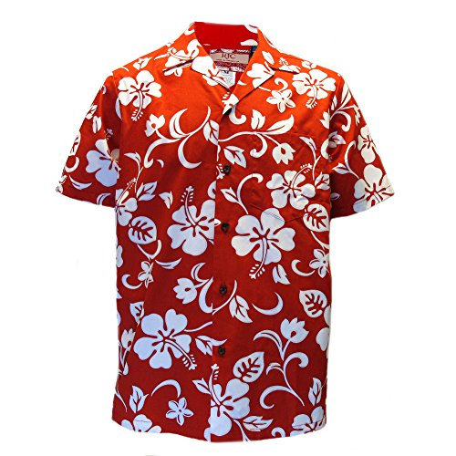 Mens-Clancey-Classic-Authentic-Red-Hibiscus-Hawaiian-Shirt