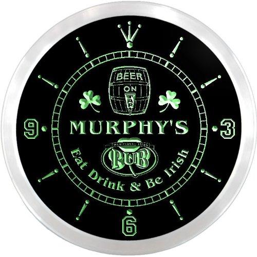 - ncpa1059-g MURPHY'S Irish Shamrock Pub Beer Pub LED Neon Sign Wall Clock