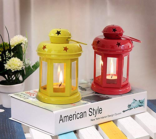 TiedRibbons Decorative Lantern Tealight Candle Holder for Wedding, Parties and Home Decoration (Yellow and Red, Pack of 2)