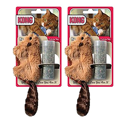 Kong Kitty - KONG Beaver Refillable Catnip Toy (Colors Vary), 2 Pack