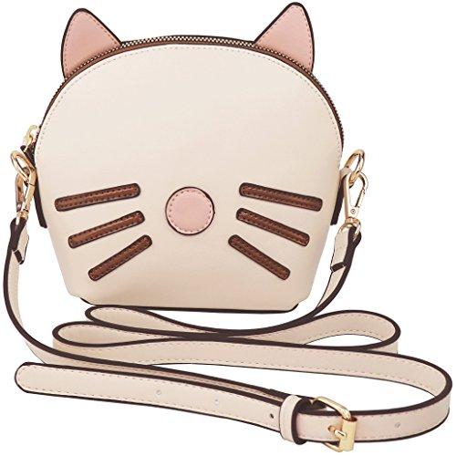 B BRENTANO Vegan Medium Cat 3D Ear Whisker Crossbody Bag (Beige)]()
