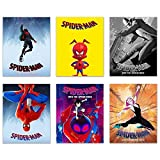 Spiderman Into The Spiderverse Movie Poster Prints - Set of 6 (8x10) Comic Movie Multiverse Marvel Wall Art Decor - Miles Morales - Spider-Gwen - Peter Parker - Spider-Ham - SP//dr - Noir