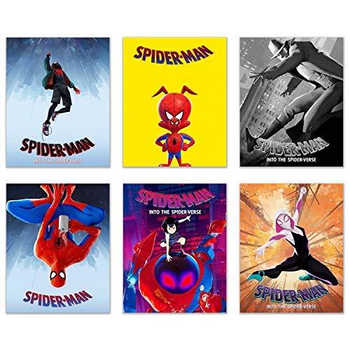 Poster Print Set - Spiderman Into The Spiderverse Movie Poster Prints - Set of 6 (8x10) Comic Movie Multiverse Marvel Wall Art Decor - Miles Morales - Spider-Gwen - Peter Parker - Spider-Ham - SP//dr - Noir