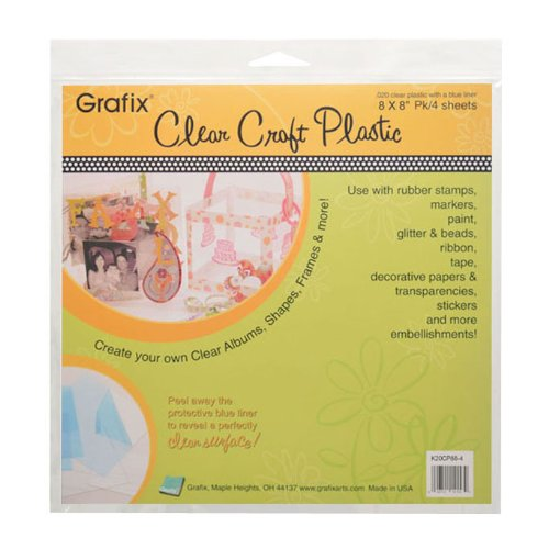 Grafix Clear Craft Plastic .020 Thickness 8-Inch by 8-Inch, Pack of 4