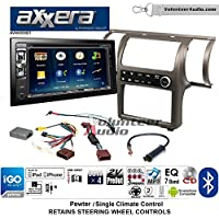 Volunteer Audio Axxera AVN6558BT Double Din Radio Install Kit with Navigation Bluetooth CD/DVD Player Fits 2003-2004 Infiniti G35 (Pewter) (Single zone A/C controls)