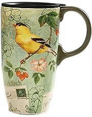 TZSSP Coffee Ceramic Mug Porcelain Latte Tea Cup with Lid 17oz. Bird