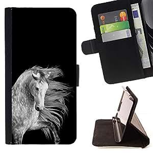 Momo Phone Case / Flip Funda de Cuero Case Cover - Noir Blanc Gris Belle - Samsung Galaxy J1 J100