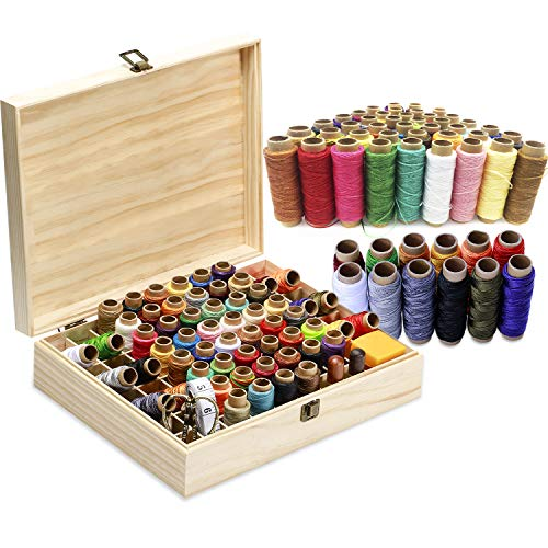 104Pcs Leather Thread Leather Waxed Thread and High Strength Polyester Thread,Leather Sewing Thread Leather Needle and Thread Leather Craft Hand Tools Kit for DIY Bookbinding Crafts and Sewing
