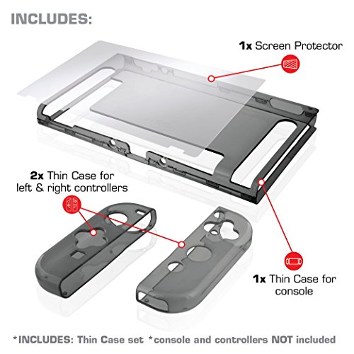 Nyko Thin Case - Dockable Protective Case with Tempered Glass Screen Protector for Nintendo Switch - Smoke