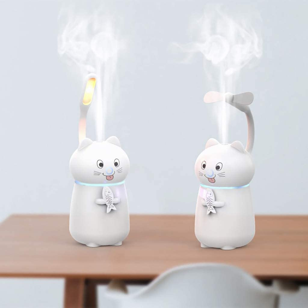 Suesshop Cute Cat 3 in 1 Humidifier LED Humidifier Air Fan Diffuser Purifier Atomizer for Office Home Living Room