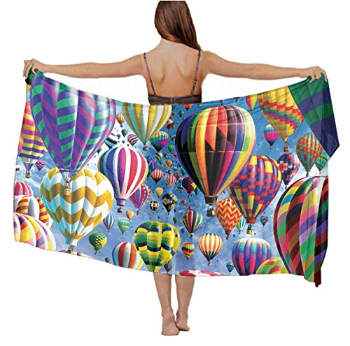 Women Hot Air Balloon Sky Cartoon Chiffon Pareo Beach Wrap Scarf for Vacation]()