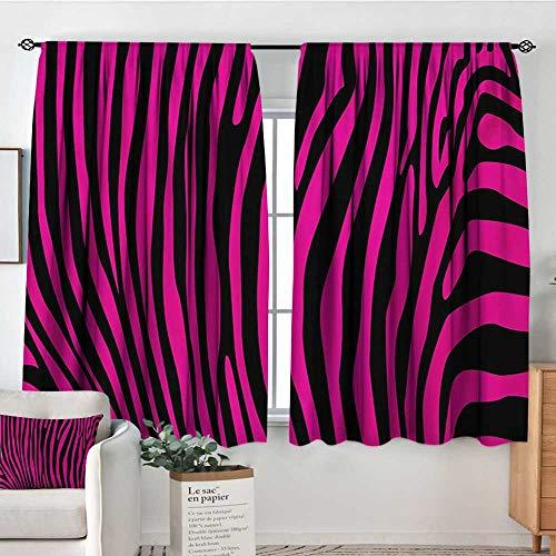 Mozenou Pink Zebra Window Curtain Fabric Stylish African Animal Wilderness Pattern Jungle Mammal Fashion Boho Graphic Drapes for Living Room 72