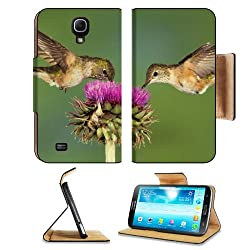 Pair Hummingbirds Purple Flower Eating Samsung Galaxy Mega 6.3 I9200 Flip Case Stand Magnetic Cover Open Ports