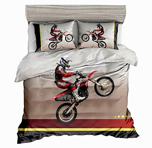 Price comparison product image SxinHome Motocross Racer Bedding Set for Teen Boys, Dirt Bike Duvet Cover Set,3pcs 1 Duvet Cover 2 Pillowcases(no Comforter inside), King Size