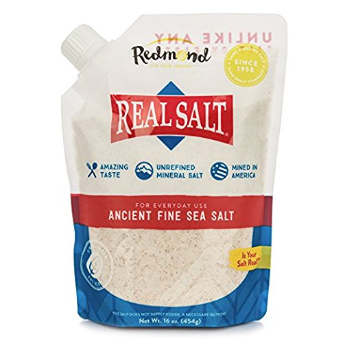 Redmond Real Salt, Ancient Fine Sea Salt, Unrefined Mineral Salt, 16 Ounce Pouch (1 Pack)