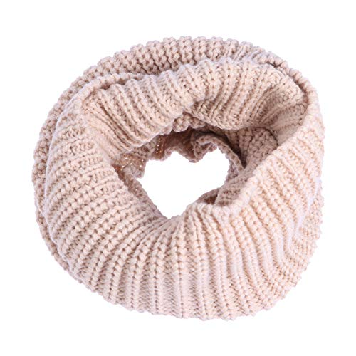 FENICAL Infinity Scarf Warm Winter Knit Long Loop Neck Bufanda Pañuelo para  niños Beige a9677f16611