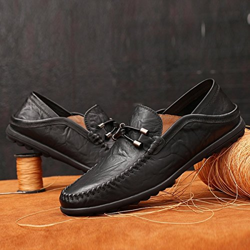Breathable Premium Shoes Slip Casual Leather Genuine Fashion Slipper Black2050 Men's Loafers on Shinysky Driving 5Tvnx8Xwq