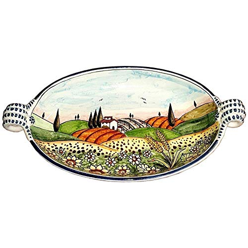 CERAMICHE D'ARTE PARRINI - Italian Ceramic Art Pottery Serving Bowl Centerpieces Hand Painted Decorative Sunflower Landscape Tuscan Made in ITALY