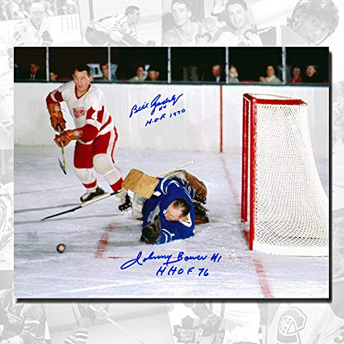 Johnny Bower Maple Leafs vs. Bill Gadsby Red Wings Dual Autographed 8x10