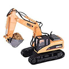 Everything: Excavator toys include everything you need! Excavator, 2.4Ghz transmitter, 7.2v 400Mah truck rechargeable battery, USB charging cable, transmitter requires 2 AA batteries (not included) Recommended age is 8 years old or olderSpeci...