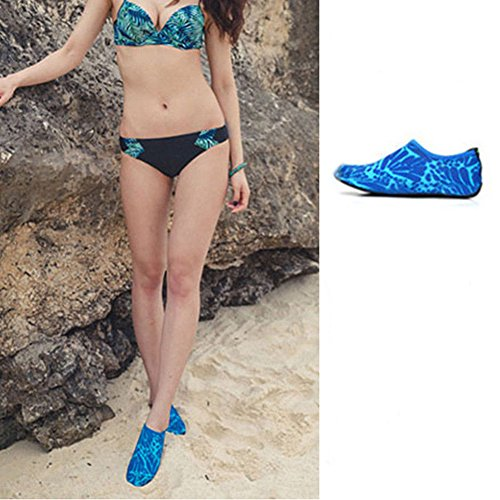 Distinct Mens Womens Outdoor Swim Barefoot Socks for Beach Running Snorkeling Surfing Diving and More Blue csDTG