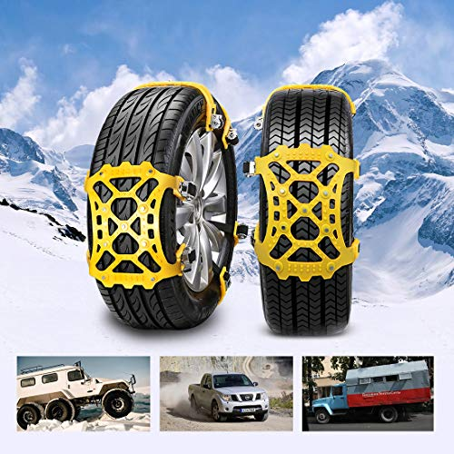 SUPTEMPO Snow Chains, 6 Set Emergency Anti Slip Tire Chains with Upgrade TPU Car Snow Chain for Trucks Minivan Pickup SUV/ATV/UTV Winter Universal Tires 6.5