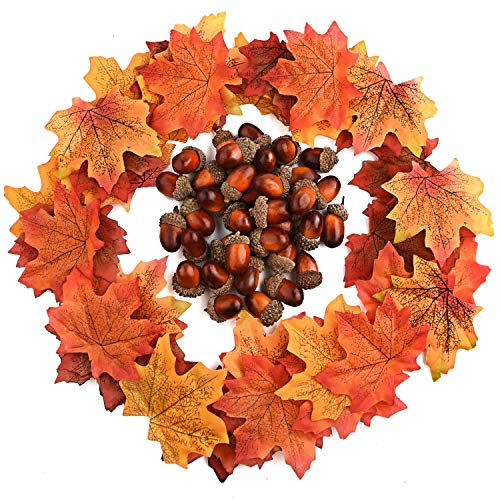 (FEPITO 350 PCS Autumn Table Decorations Scatters Set, 300 Pieces Artificial Maple Leaves Fall Leaves with 50 Pieces Artificial Acorns for Autumn Fall Party Decorations Thanksgiving Day)