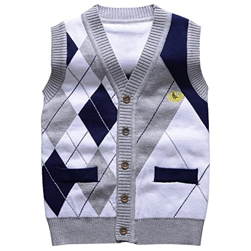 Taiycyxgan Little Boys Gentleman Knit Sweater Vest Kids V Neck Cardigan Waistcoat Grey 120 -