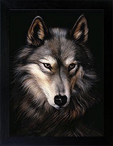 Photo Frame Wolf - WOODEN SHOP 3D Lenticular Picture Poster Artwork Unique Wall Decor Holographic Pictures Optical Illusion Flipping Images with Frame, Wolf Head